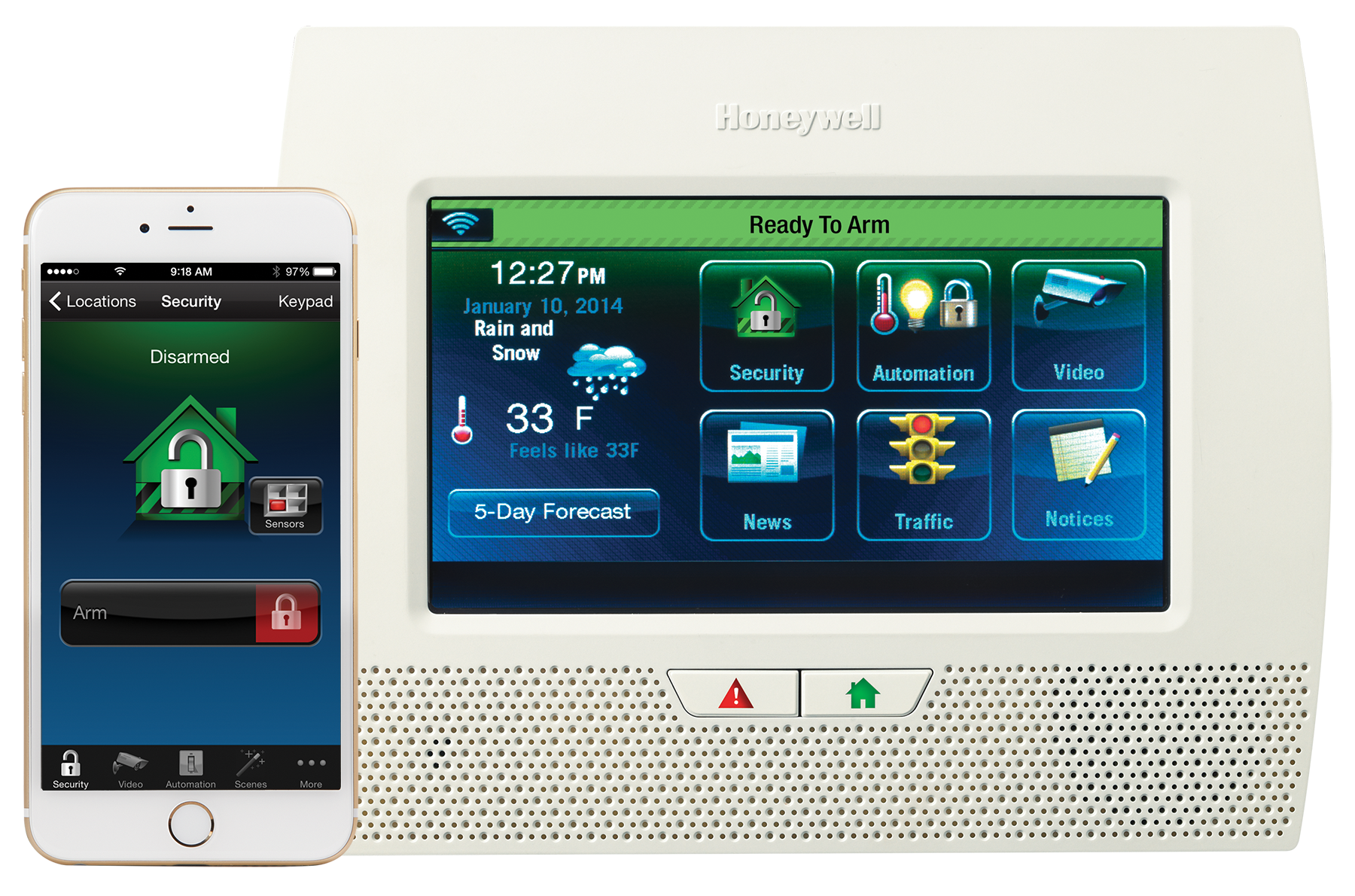 ... Security Cameras, Hidden Cameras And Lynx Touch 7000 Ready To Arm With  Honeywell Total Connect Home Alarm System